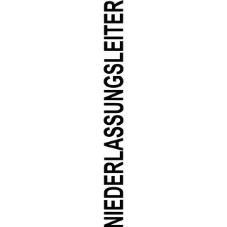 """Logo Rücken Schriftzug """"Niederlassungsleiter"""""""" einfarbig grün"""