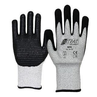 Schnittschutz-Handschuh grau-schwarz, Nitrilschaumbeschichtung und Nitrilnoppen